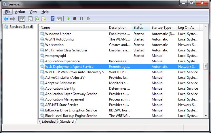 نمایی از کنسول Services در ویندوز و سرویس Web Deployment