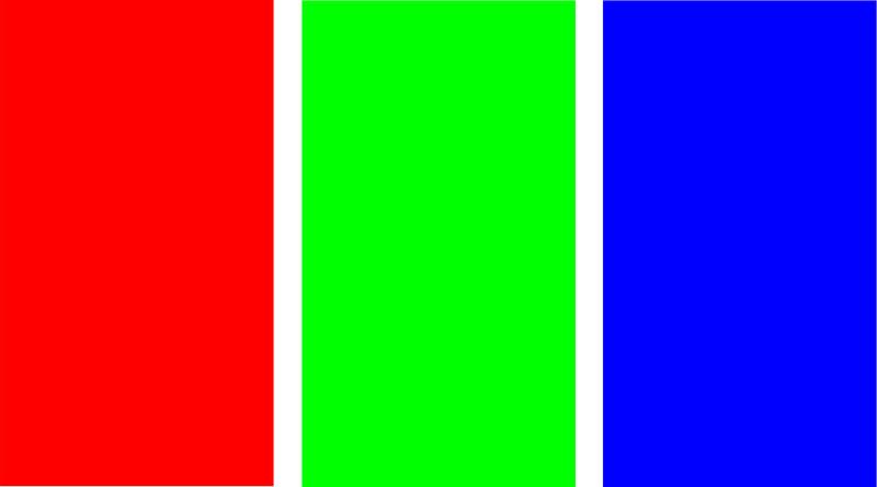 خروجی آزمایش RGB برای هر سه حالت قرمز، سبز و آبی