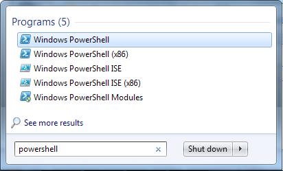 اجرای PowerShell از منوی استارت