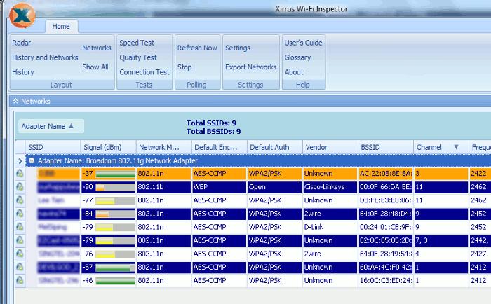 تصویری از محیط نرم افزار wifi-inspector