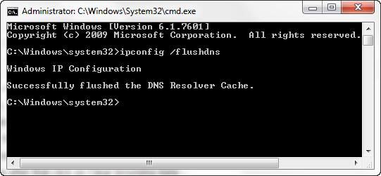 اجرای دستور ipconfig با سوئیچ flushdns برای پاکسازی کش dns