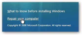 روی گزینه Repair your computer کلیک کنید.