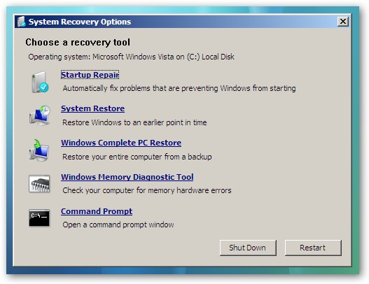 پنجره System Recovery option نمایش داده می شود.