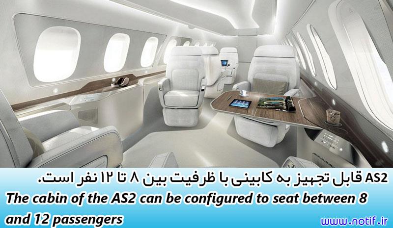 هواپیمای مافوق صوت AS2 قابل تجهیز به کابینی با ظرفیت بین 8 تا 12 نفر است.