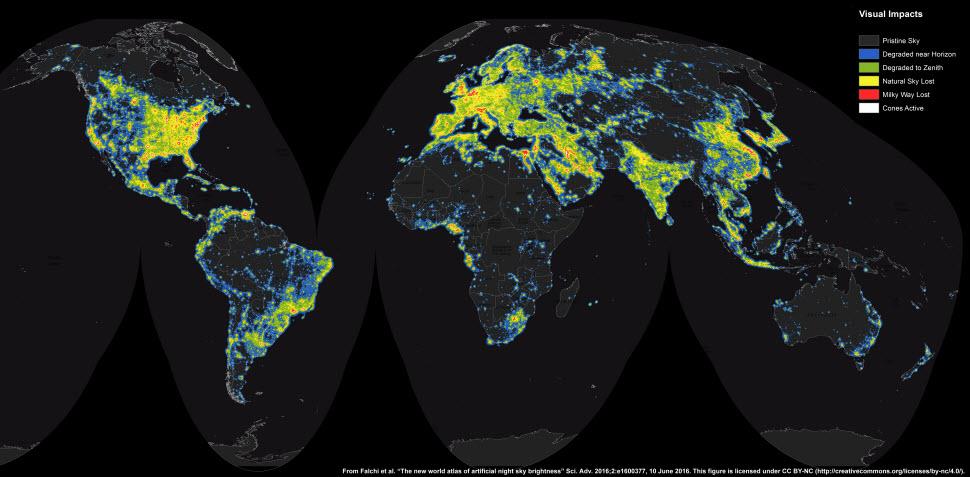 اطلس جدید از روشناییهای مزاحم رصد آسمان شب