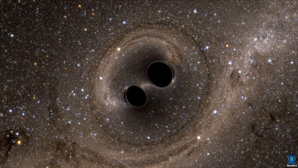 تصویری از برخورد دو سیاهچاله که برای اولین بار رصد شد.