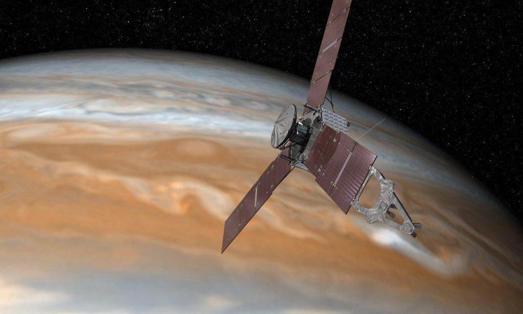 تصویری شماتیک از کاوشگر جونو بر فراز سیاره مشتری