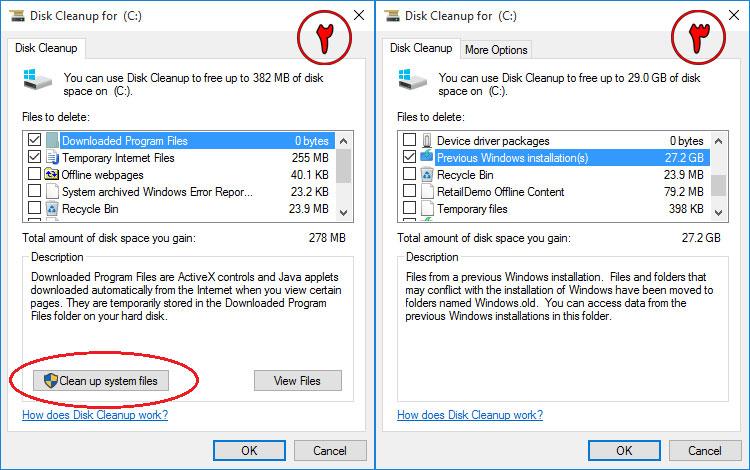 1 گزینه پاک سازی فایل های سیستمی 2 انتخاب گزینه های مورد نظر و تایید